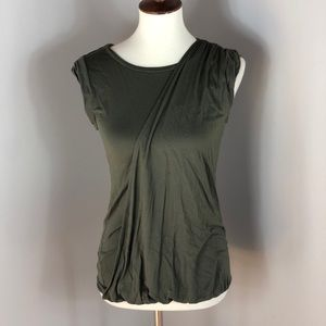 XS Loft Crisscross Olive Green Cap Sleeve Shirt